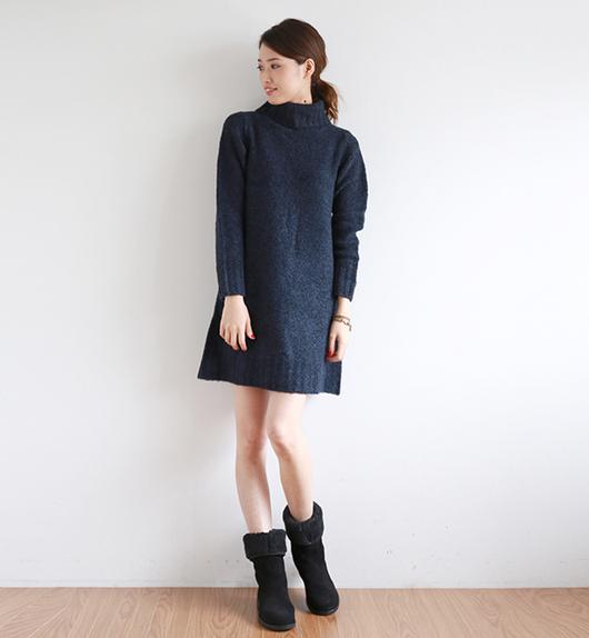 【冬のアイテム】タートルネックのワンピースは一枚で可愛く着れる♡のサムネイル画像
